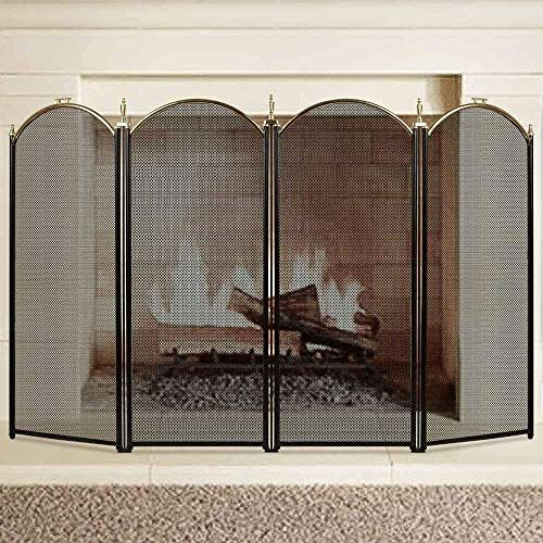 Buy Large Gold Fireplace Screen 4 Panel Ornate Wrought