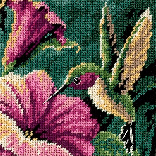 <li>Enjoy a fun and relaxing evening with a new needlepoint project<li>Cross stitch kit shows an attractive mini hummingbird pattern<li>Craft project is sure to look great in any room of your home