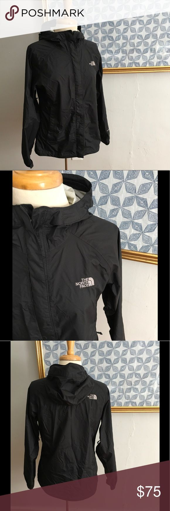 The North Face Rain Jacket HyVent 2.5L 🔥Hot Fall / Winter item In very lightly used pre loved condition. Item has not rips   Or stains to the outside. Very light discoloration to the inside not very noticeable and small pin hole size spot in the inside of the jacket. Please see the last 2 photos. All zippers are in working order. Extra size zippers for ventilation. Jacket measures approximately 19.5 across chest and is about 25.5 length. Please feel free to follow my closet. New items every…