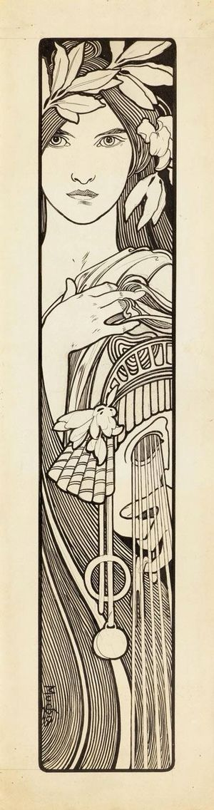 Mucha pen and ink. This shape and coloring and framework would work well on an arm or leg, maybe even on the ribs.