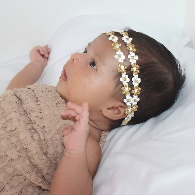 Two Strand Headband,Gold Headband, Gold Boho Headband, Bohemian Headband, Hippie Headband, Baby Headband, Gold Headbands This Gold Boho Double Strand Headband is 1/2 wide. Just perfect for any age! The front part of this headband will not stretch but there is enough stretch elastic on the back fo