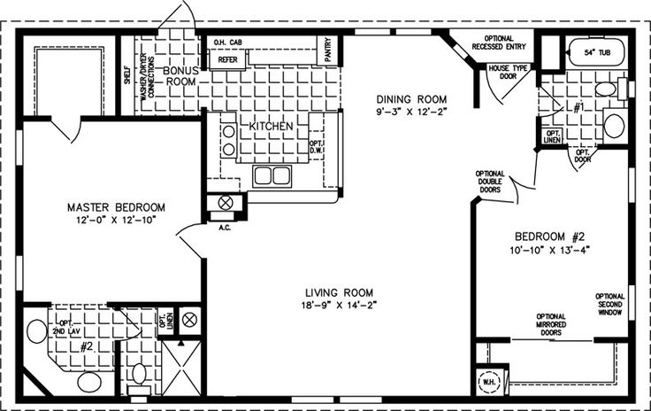 1000 sq foot house plans | The TNR-4446B - Manufactured Home Floor Plan | Jacobsen