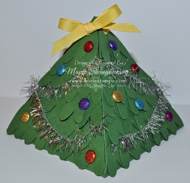 christmas tree pyramid explosion box by mariestampscom includes free template and tutorial - Christmas Tree In A Box