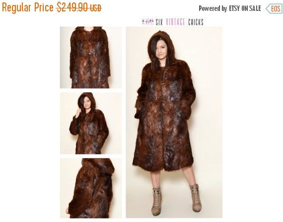 40% Off Xmas Sale Fur Coat, 80's Sexy Vintage Coat, Classic Style Hooded Coat, Vintage Woman's Clothing Size M/38 Gift idea for her, Free Sh by SixVintageChicks on Etsy
