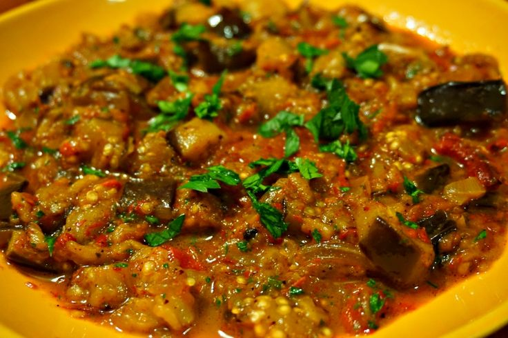 Warm Eggplant Salad with Ottoman Spice Mix - works well served by itself, as a topping for bread, or as part of a complete Turkish Mezze Platter