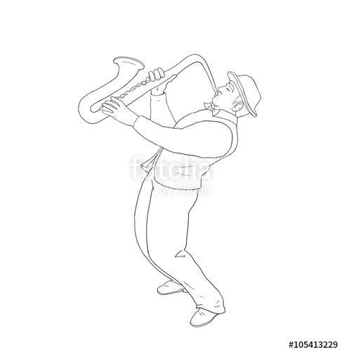 Saxophone player man on white background. Digital illustration, hand drawing.