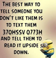 Text, The best way to tell someone. See my Despicable Me Minions pins https://www.pinterest.com/search/my_pins/?q=minions: Hello Asshole, Funny Assholes Quotes, Giggle, Asshole Quotes Funny, Funny Minion Quotes, Funny Asshole Quotes, Funny Quotes Minions