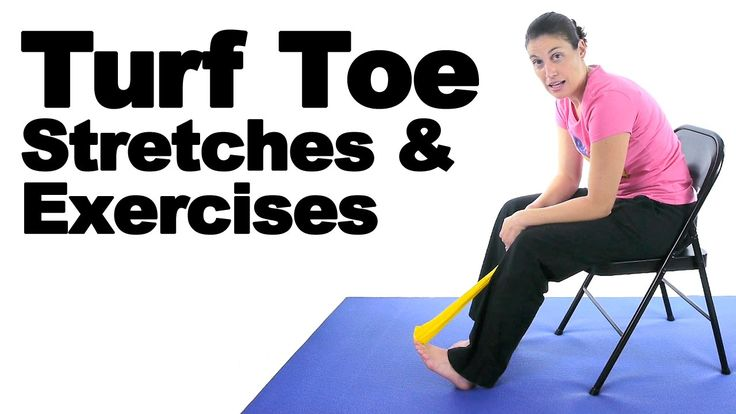 Turf toe is basically when you sprain the ligaments of your big toe joint. This happens a lot with football and soccer players who play on turf. These stretches and exercises should help the ligaments heal. See Doctor Jo's blog post about this at: http://www.askdoctorjo.com/turf-toe