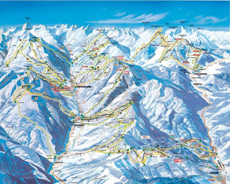 Panoramakarte Leogang: Pistenplan Leogang - Ski Leogang