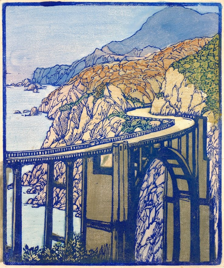 Frances Gearhart Big Sur Bridge Untitled Color Wood Block Print