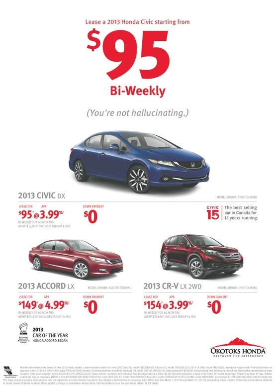 Where do you even find a car to lease for only $95/biweekly? @OkotoksHonda is where you need to be! #yyc #okotoks