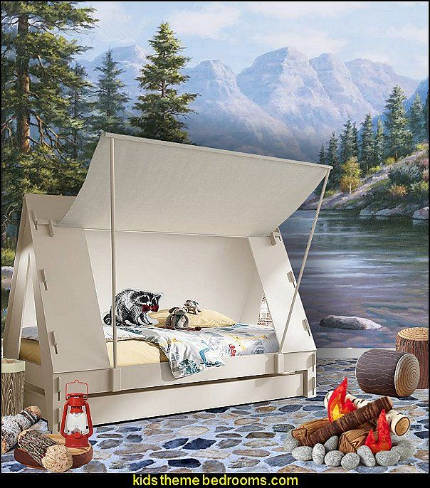 Cabin Tent Bed camping bedroom camping tent bed   Happy Camper little boys outdoor theme bedroom - tree wall decal - dog wall decal stickers - treehouse bed - girls treehouse theme bedrooms - camping room decor - camping theme room