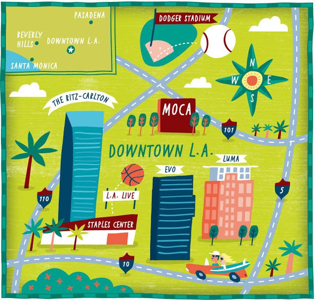 Los Angeles illustrated Map for The Wall Street Journal by Nate Padavick