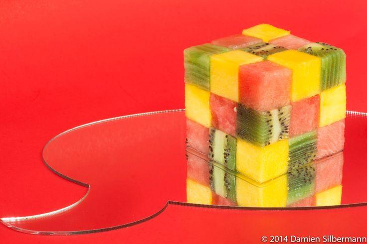 Rubik's exotique Ananas, kiwi, pastèque  Salade de fruits design culinaire chef à Montréal Damien Silbermann