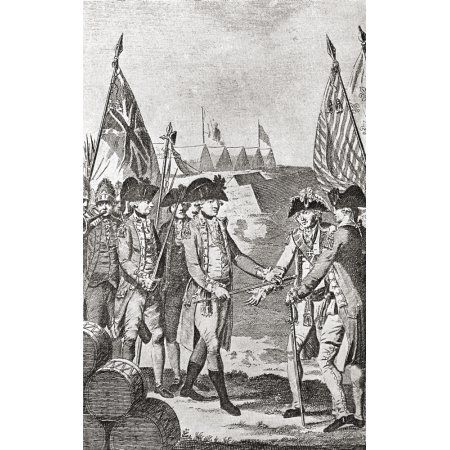 The Surrender Of Lord Charles Cornwallis At The Siege Of Yorktown In 1781 From The Book Short History Of The English People By JR Green Published London 1893 Canvas Art - Ken Welsh Design Pics (22 x