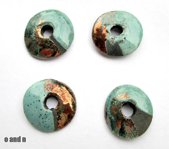 Rondelle greek ceramic beads turquoise / brown 26mm 1 by OandN, $2.20 #jewelrysupplies #beads