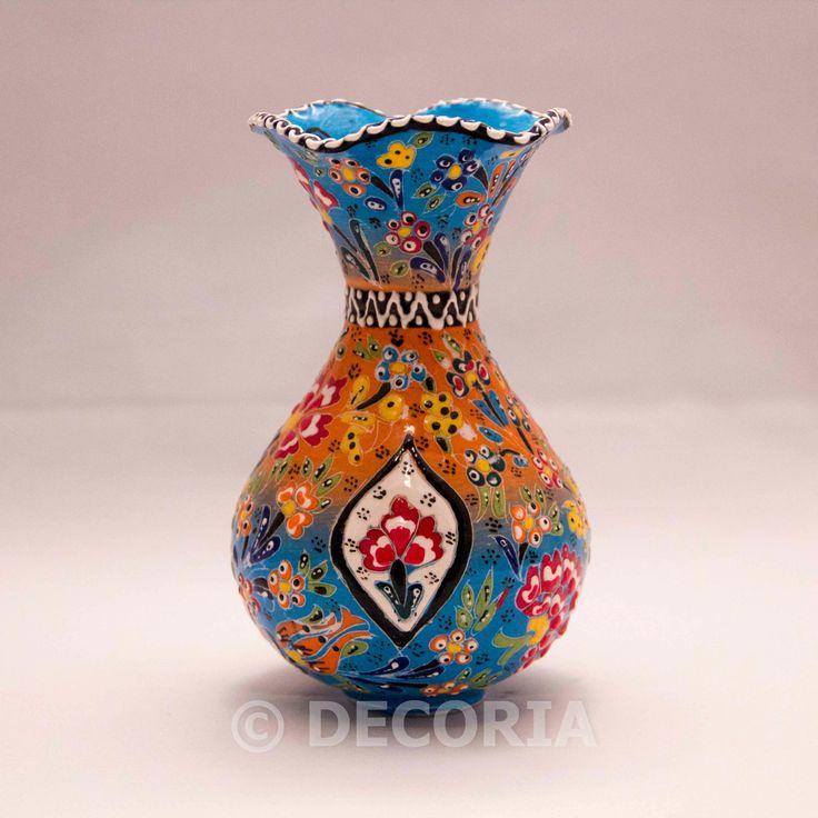 Large Vase - Baby Blue & Orange - DECORIA HOME & GIFT