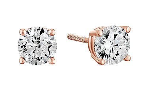 Christmas Special 10K Gold Diamond Solitaire Stud Earrings Screw Back 0.1Ct