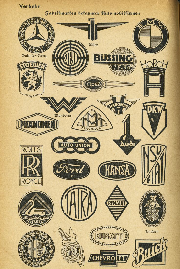 """chromeography: """"Existing automobile marks"""" from Wissenswerte Tatsachen aus allen Gebieten (Worth knowing facts from all realms), 1939, Germany. Scan by Hans-Michael Tappen. Thanks, Florian Hardwig."""