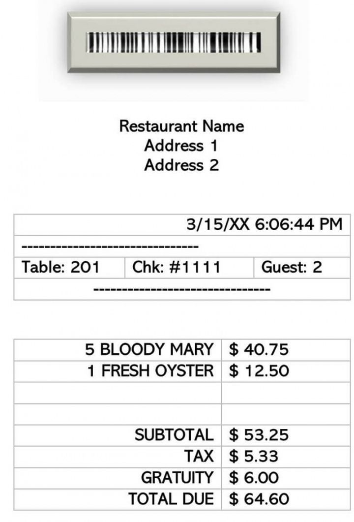 Browse Our Example Of Itemized Restaurant Receipt Template Receipt Template Templates Restaurant Names