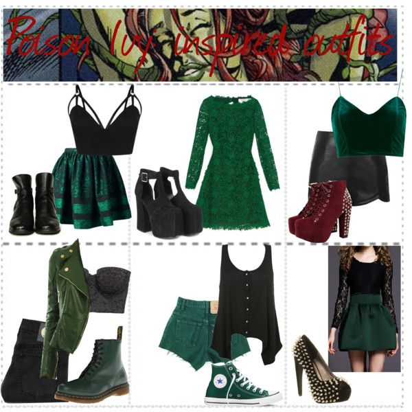 Poison Ivy inspired outfits by isabel-ortiz on Polyvore featuring Valentino, Topshop, American Eagle Outfitters, RED Valentino, Cheap Monday, Ally Fashion, Dr. Martens, Chanel, Jeffrey Campbell and Converse