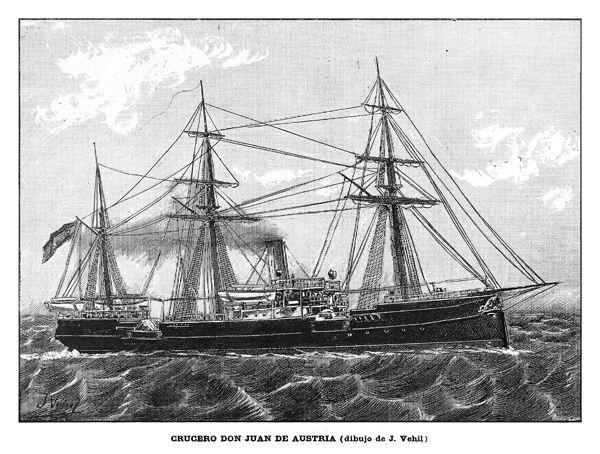 """CRUCERO NO PROTEGIDO """"DON JUAN DE AUSTRIA"""" (este buque fue hundido en la batalla de Cavite por la armada de EE.UU. tras recibir 13 impactos. La 'Navy' lo reflotó y lo incorporó a la flota norteamericana como USS """"Don Juan de Austria"""", estando en servicio hasta 1.919) http://www.elgrancapitan.org/foro/viewtopic.php?f=45&p=901839#p901830"""