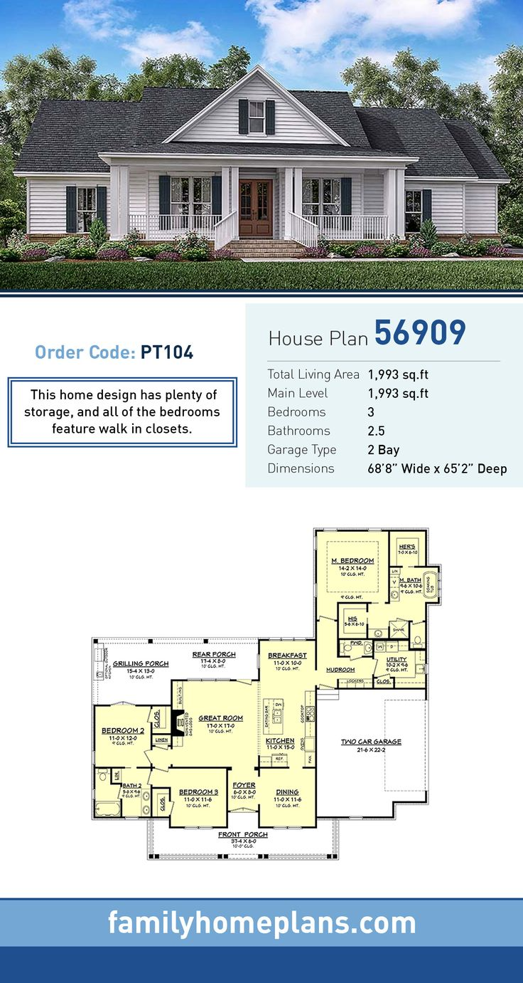 Country Style House Plan Number 56909 With 3 Bed 3 Bath