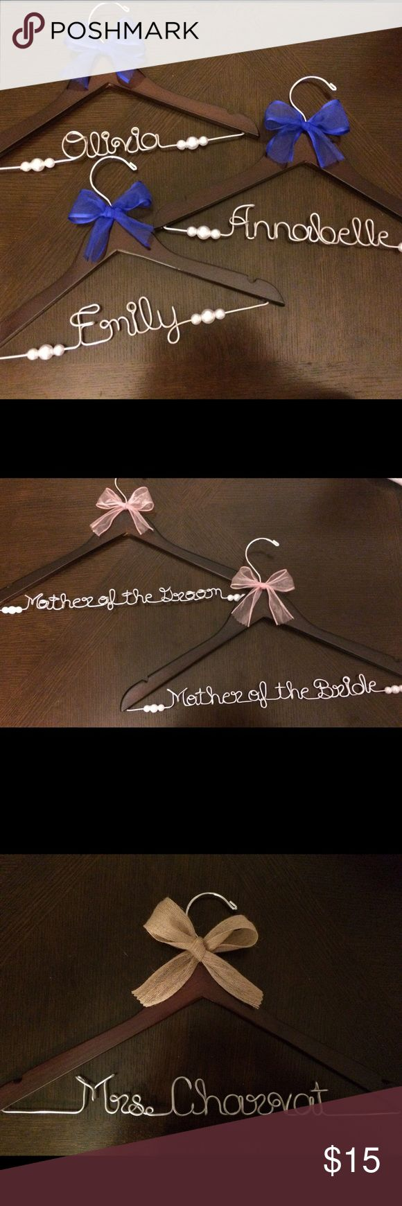 Personalized Wedding Wire Name Hangers! Personalized Wedding Hanger!!!   Don't forget a personalized hanger to show off your gorgeous wedding gown! I can custom design a hanger for the bride, bridesmaids, flower girl, or other members of the wedding party. (The total letters per hanger must be under 16 letters including spaces.) Buy 2+ for 10% off & $6 shipping!  Leave a note with these details at checkout:  ~Name on Wire ~Color of Ribbon if desired (I have most colors of ribbons, message me…