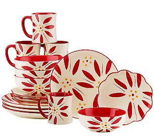 Temp-tations Hand Painted Stoneware 16-pc. Dinnerware Set  sc 1 st  Pinterest & 81 best Temptations images on Pinterest | Cooking ware Dish sets ...
