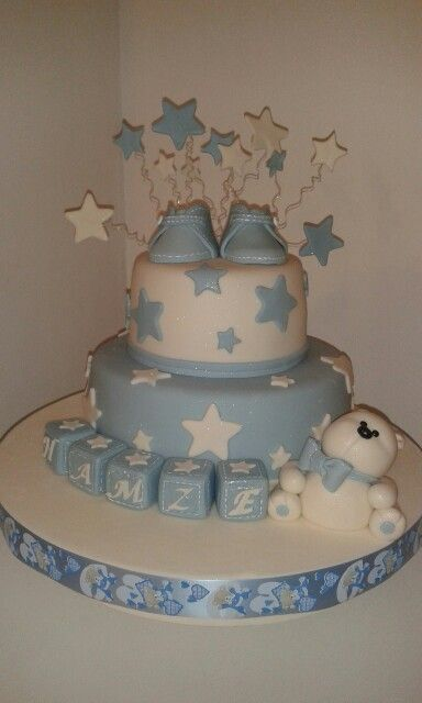 Detalle torta Baby Shower Osito y zapatitos