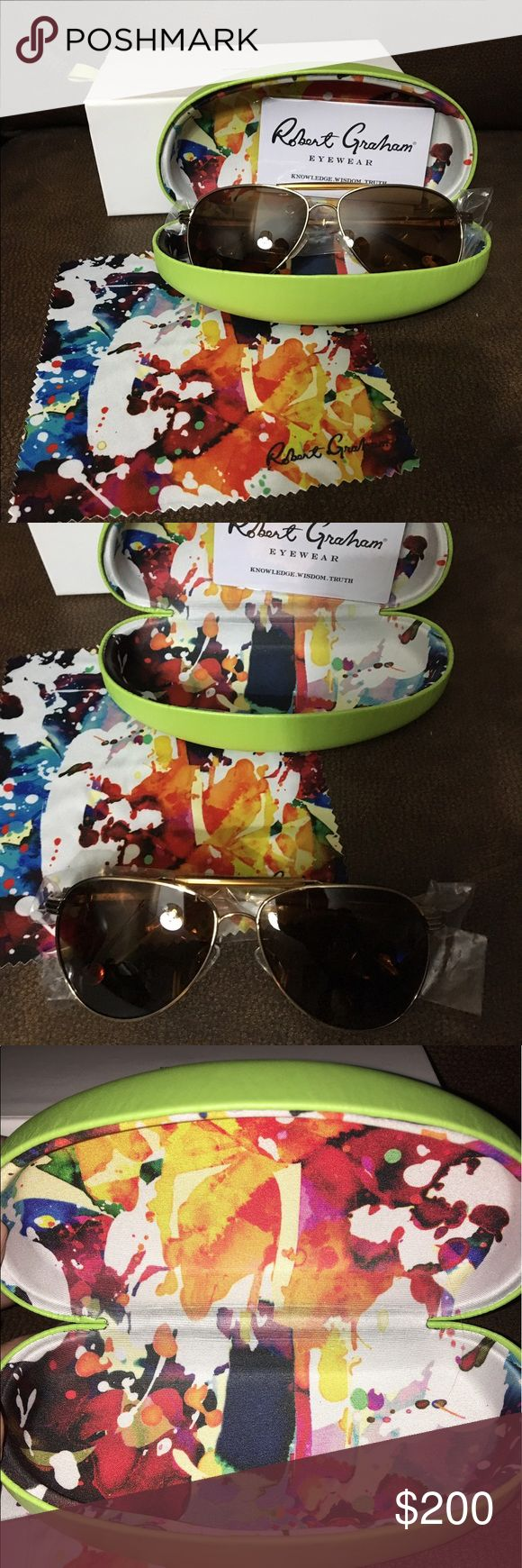 NWT Authentic Robert Graham aviator sun glasses NWT Authentic Men's Robert Graham Walker Aviator sun glasses. Comes with original box, sun glass case, cleaning cloth, and authenticity card. 😎💕 Perfect for Grads and Dad's gifts! Robert Graham Accessories Glasses