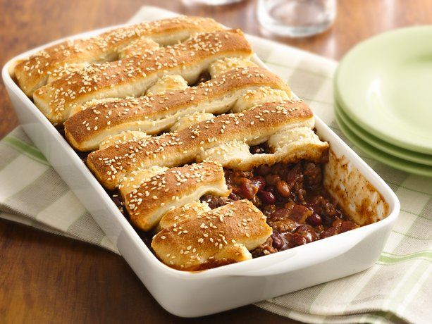 Two-Bean Burger Casserole-  Beef, bacon and  beans are topped with Pillsbury® breadsticks in this hearty casserole dinner.