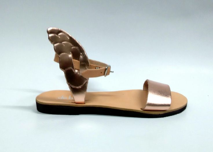 Iris_Rose gold and natural Handcrafted leather sandals