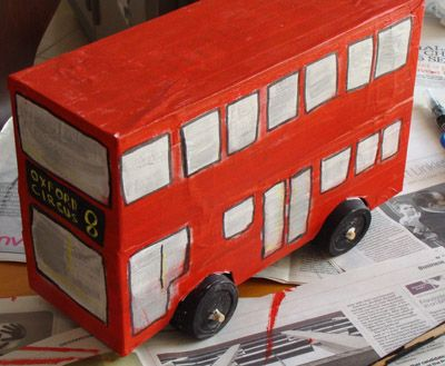 how to make a double-decker bus out of shoeboxes