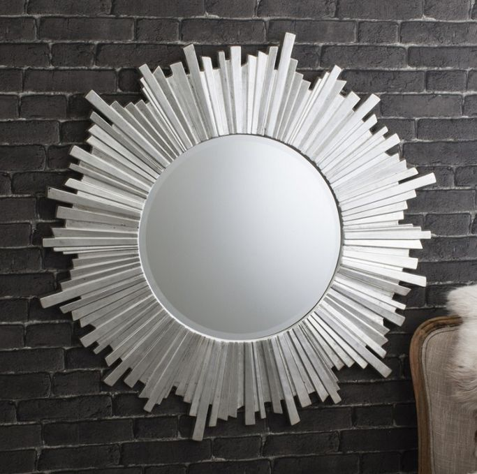 The dramatic starburst design and chic silver leaf finish of our Celestial Silver Mirror is a real statement piece to brighten any room or hallway.
