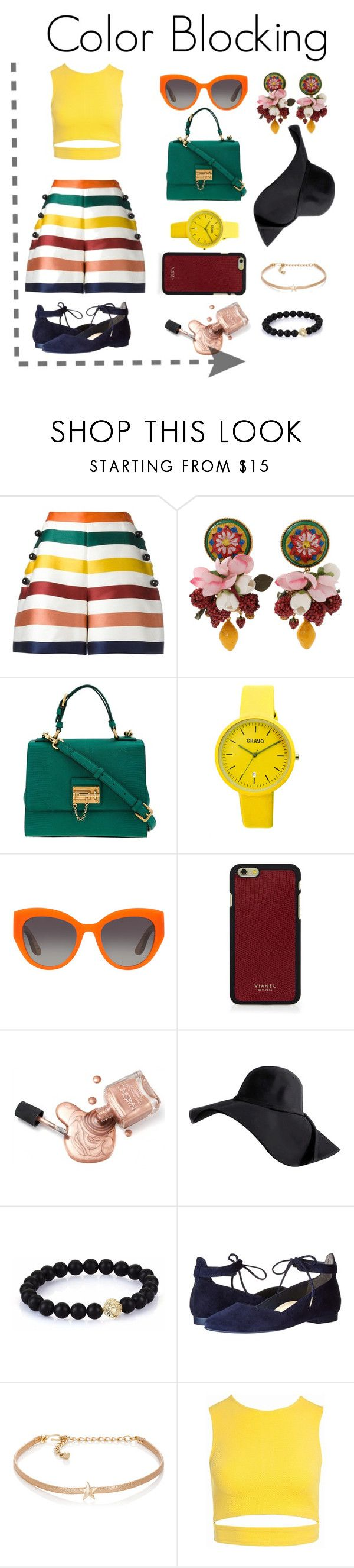 """""""Color Blocking"""" by janaki-indie ❤ liked on Polyvore featuring Carolina Herrera, Dolce&Gabbana, Crayo, Vianel, Paul Green, Kenneth Jay Lane and Sans Souci"""