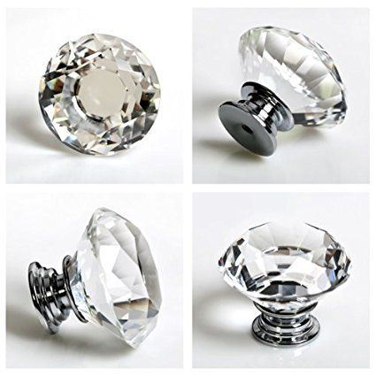 crystal glass diamond shape larger one drawer door cabinet or dresser knob pull