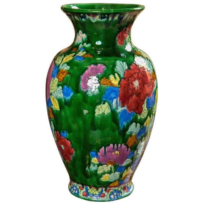 "JAPANESE AWAJI POTTERY VASE A Japanese Awaji pottery vase with great color and large size. 1920's. 18.5""h x 12"" Dia."