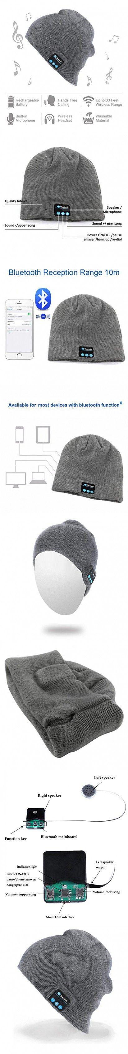 Momoday® Bluetooth Music Soft Warm Beanie Hat Cap with Stereo Headphone Headset Speaker Wireless Mic Hands-free for Men Women Speaker Winter Outdoor Sport Best Gift (Light Grey)