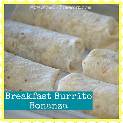 Breakfast Burrito Bonanza -  A Freezer Meal Idea | Mom On Timeout - Save time in the mornings with make-ahead freezer meal breakfast burritos! #breakfast #freezermeal #recipe