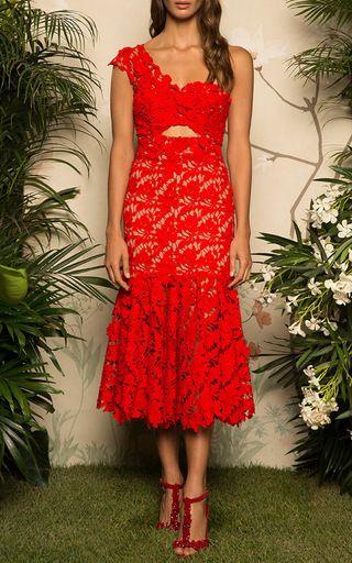Macarena Lace One Shoulder Dress by JOHANNA ORTIZ for Preorder on Moda Operandi