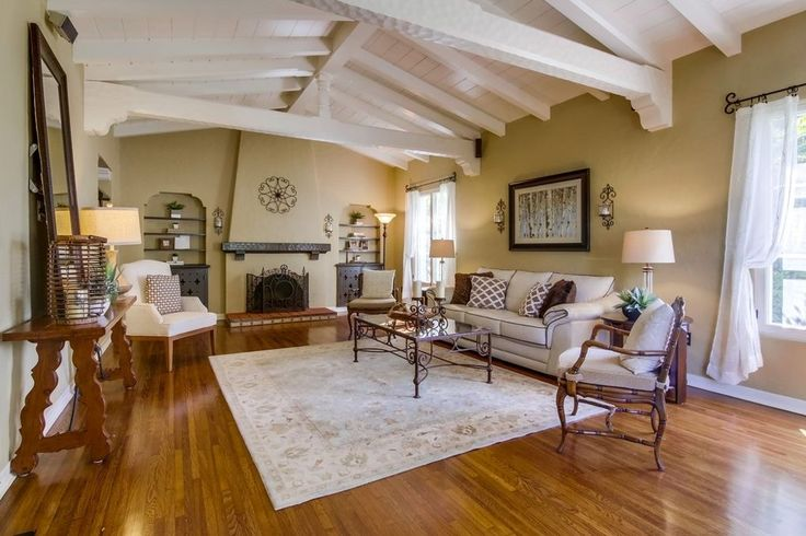 Built-ins & fireplace in 1927 Spanish | 2304 Plum St., Point Loma.