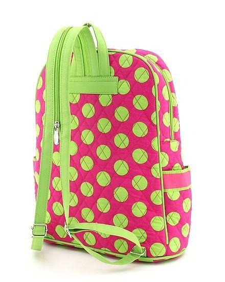 Poshy Kids - Personalized Kids Backpacks Pink and Green Polka Dot, $25.50 (http://www.poshykids.com/personalized-kids-backpack-in-pink-and-green-polka-dot/)