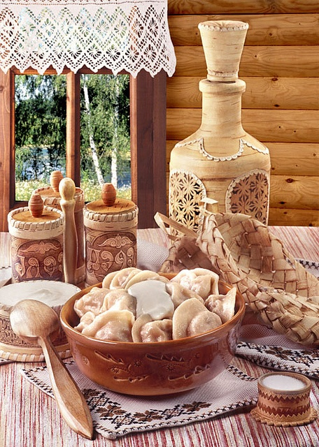 Pelmeni - Russians know how to cook and eat and set an incredible table that is creaking under the weight of delicious food!!!!