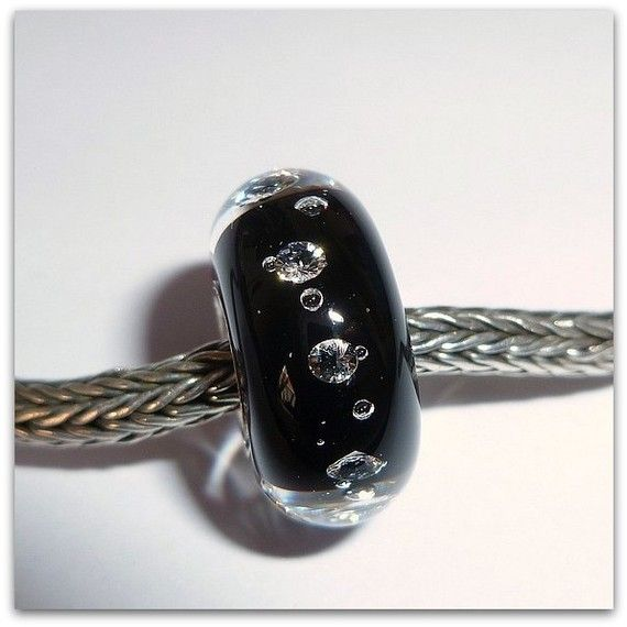 luccicare beads | Luccicare Lampwork Bead - 8 CZ Black - Lined with Sterling Silver