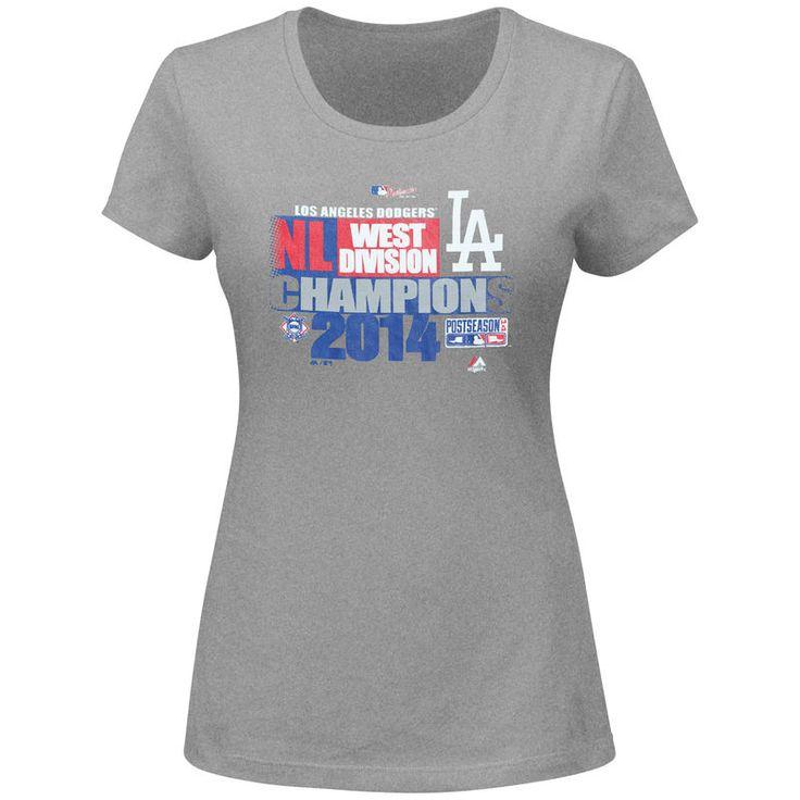 Los Angeles Dodgers Majestic Women's Plus Size 2014 Divison Champions T-Shirt - Heathered Gray