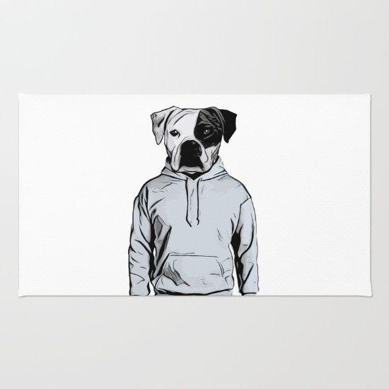 Cool Dog Rug by Nicklas Gustafsson #dog #bulldog #boxer #human #illustration #hoody #hoodie #rug #homedecor