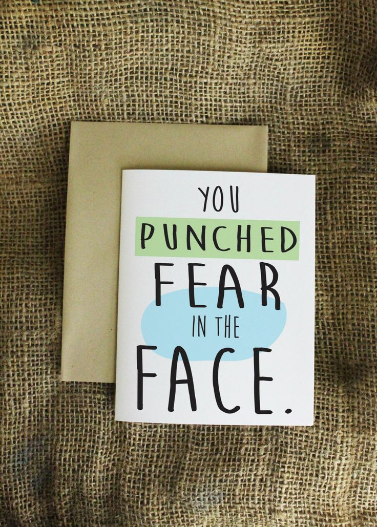 You Punched Fear in the Face Card Congratulations Card Congrats Card Friendship Card New Job Card New Baby Card New Job Card Moving Card by LissaLooStationery on Etsy https://www.etsy.com/listing/199929594/you-punched-fear-in-the-face-card