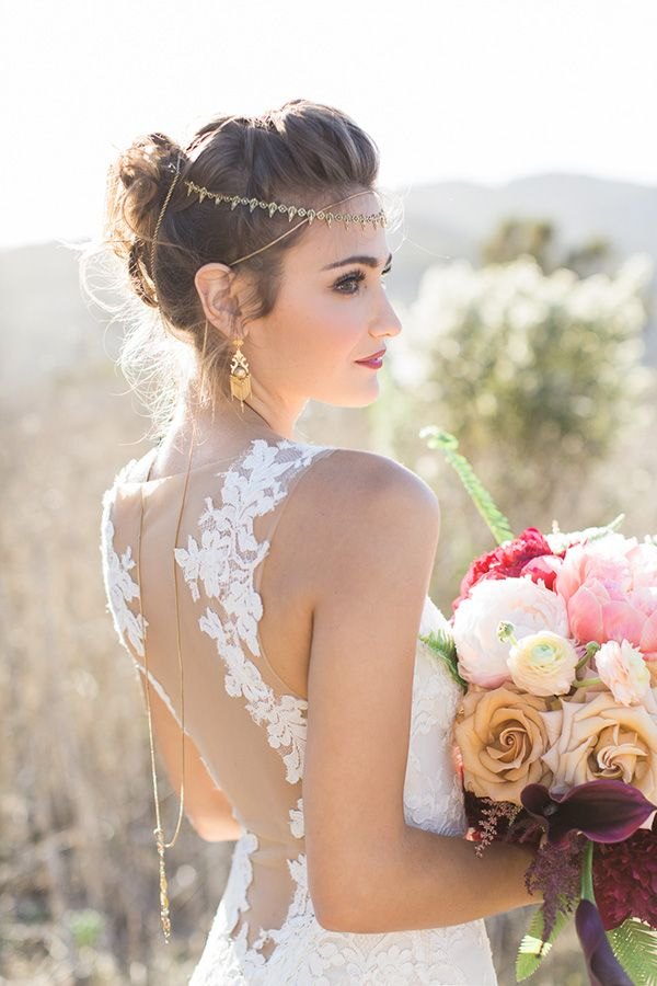 Backless Lace Wedding Dress and a Gold Bridal Headpiece | Carlie Statsky Photography | Luxe Bohemian Wedding in Jewel Tones