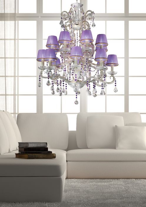 Pretty ivory chandelier with 16 lilac silk shades, £2,609.36. For more information please visit: http://www.italian-lighting-centre.co.uk/chandeliers-with-shades/pretty-ivory-chandelier-with-lilac-silk-shades-p-4275.html